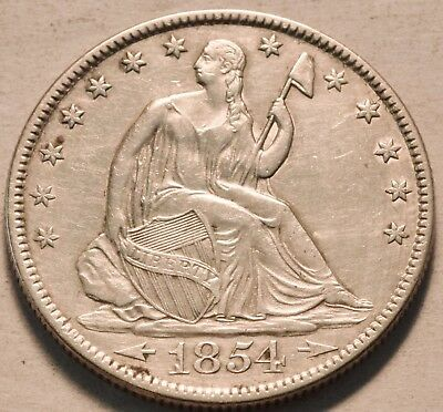 1854 O Seated Liberty Half Dollar, Higher Grade Details, Nice Type Silver 50C