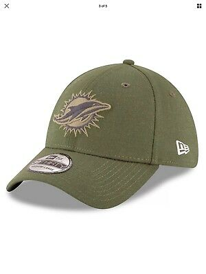 online store 90e8c 9dd47 ... coupon code for new era miami dolphins olive 2018 salute to service  sideline 39thirty flex hat