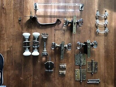 Lot Of Antique Door Hardware Glass Knobs, Glass Towel Bar, Mortise Locks