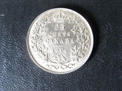 25 cents 1914 Canada King George V silver coin 25c 25¢ quarter Polished AU-55