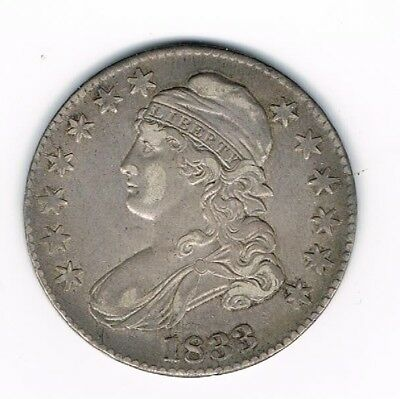 1833 Capped Bust Silver Half Dollar 50 Cents Antique Coin