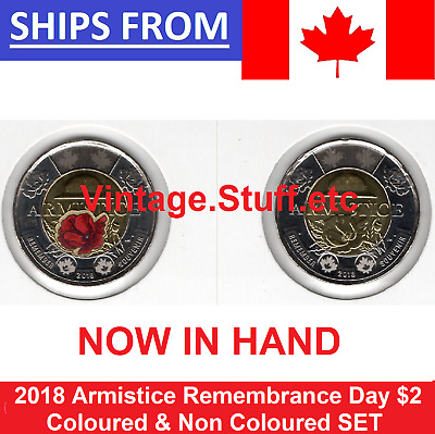 100th 2018 Canada $2 Armistice Coloured & Non Color Rememberance Poppy UNC