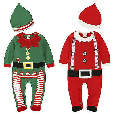 Baby Boys Girls Christmas Jumpsuit Romper + Hat Xmas 2Pcs Outfits Set Costume AU
