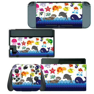 NINTENDO SWITCH SKIN Decal Sticker Vinyl Wrap - Sea Animal Jellyfish Dolphin
