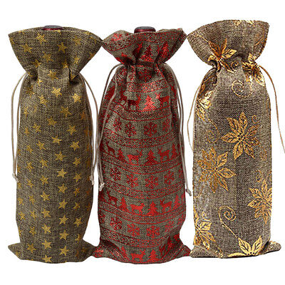 Xmas Jute Burlap Bottle Bags Drawstring Wine Champagne Linen Package gift Bag AT