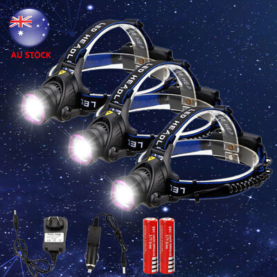 20000LM XM-L T6 LED Headlamp Rechargeable Headlight Torch Caming 18650 Charger