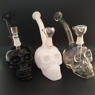 Three Color Skull Head Style Glass Hookah Water Smoking Bong 14.4mm Joint