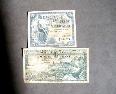 Congo - Two old notes -  Pick13A and 31 - Rare