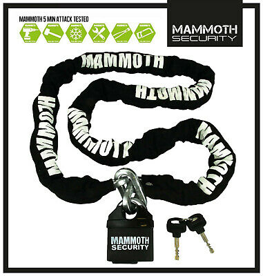 MAMMOTH MOTOCROSS MOTORCYCLE SCOOTER SECURITY PADLOCK LOCK AND & CHAIN 1.8m LONG