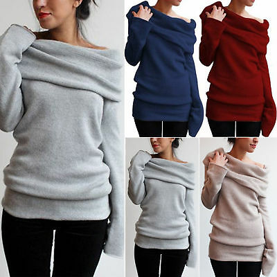 New Womens Off the Shoulder Sweatshirts Sweater Winter Warm Pullover Tops Coats