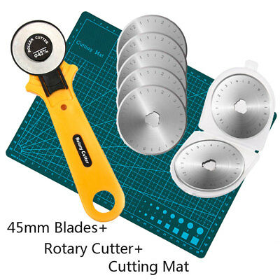 45mm Rotary Cutter Blades Cutting Mat Clip Quilters Sewing Fabric Leather Craft