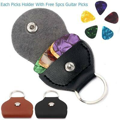 Convenient Guitar Plectrum Plec Pick Holder PU Leather Case Keyring Bag + Picks