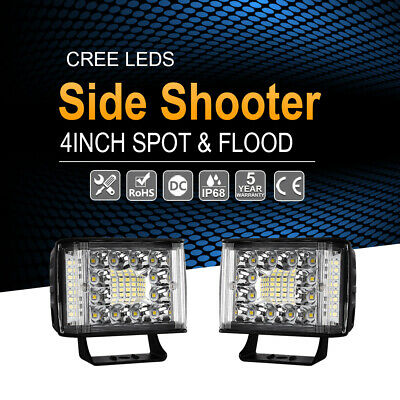 2x 4''Inch Cree LED Work Light Bar Side Shooter Spot Flood Driving Offroad Truck