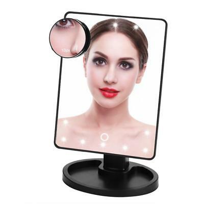 22 LED Lights 360° Rotating Makeup Mirror Tabletop Touch Screen 10X Magnifier gw