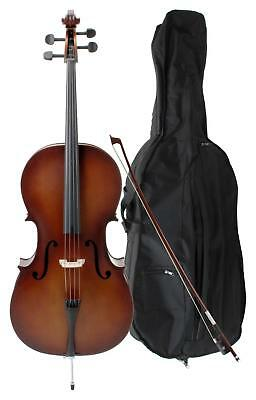 Classic Cantabile Student Cello 4/4 Size Handmade Quality With Case And Bow Set