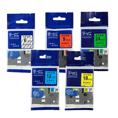 6/9/12/18/24mm 8M for Brother PT P-Touch Tze Tz Label Tape - 6 Colors Cartridge