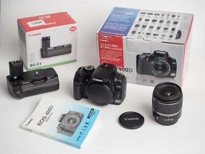CANON EOS 400D Digital Rebel XTi DSLR Camera Boxed Battery Grip And 18-55mm  Lens