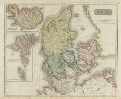 Denmark, Iceland & the Feroe (Faroe) islands by John Thomson 1817 old map