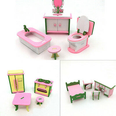 Doll House Miniature Bedroom Wooden Furniture Sets Kids Role Pretend Play Toy FG