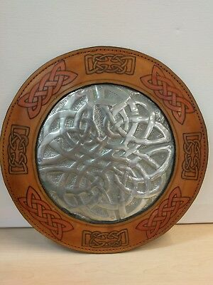 """Hand Made Celtic Leather Wall Hanging Display Shield Buckler Medieval 12.5"""""""