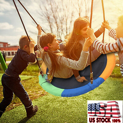 Round Swing Set Outdoor Playground For Kids Toddlers Play W Steel