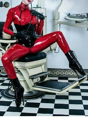 catsuit rouge latex heavy rubber fetish T S