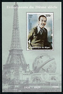 Niger 1998 MNH Walt Disney 1928 Mickey Mouse 1v M/S Eiffel Tower Stamps