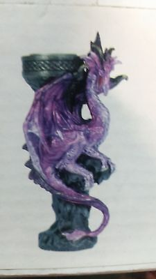 "Mystical Purple & Black Dragon Stature 7"" tea light candle holder Midevil"