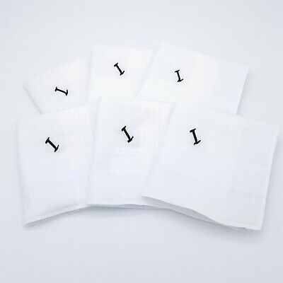 Mens Pack 6 White Cotton Handkerchiefs Personalised Initial Letter Monogrammed