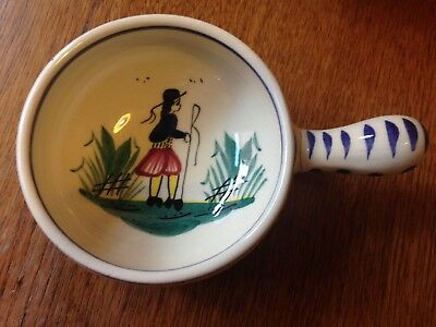 Vintage Quimper small handled dish, hand painted with man,