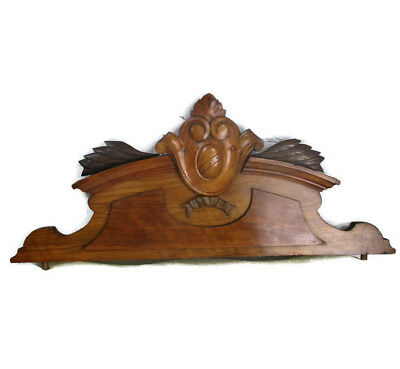 French Vintage Hand Carved Wood  Pediment Over door Architectural Ornate Shield