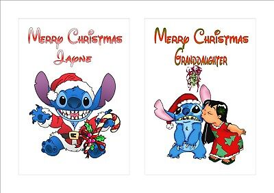 Personalised Disney Inspired LILO & STITCH Christmas Card Any Name Relation etc