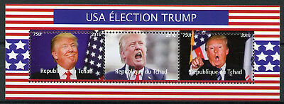 Chad 2016 MNH Donald Trump US Elections 3v M/S US Presidents Politicians Stamps
