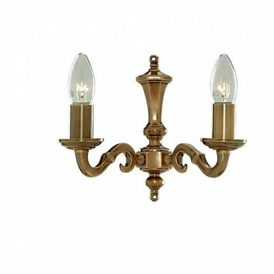 Searchlight Malaga Solid Antique Brass Twin Wall Light, 1072-2Ng