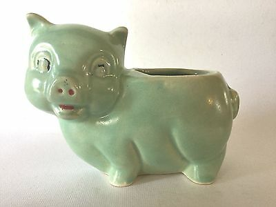 1952 Brush McCoy Art Pottery PIG Planter Green w/Cold Paint usa