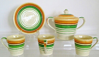 Vintage Moriyama Mori-machi Sugar Bowl with Cover, 3 Cups, & 1 Saucer Hand Paint