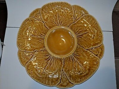 Very Nice Bordallo Pinheiro YELLOW GOLD Cabbage Dish Plate Made in Portugal