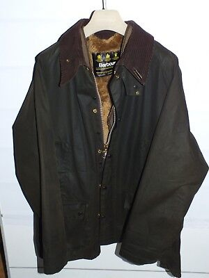 barbour bedale jacket waxed cotton  green  + inner pile + brooch c46/117 xl