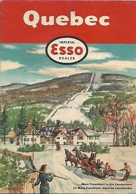 1954 IMPERIAL OIL ESSO Road Map QUEBEC Mont Tremblant Ski Slope Montreal Canada