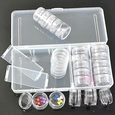 25 PCS Empty Clear Storage Pot With Box For Gem Rhinestone Powder Bead Sequins