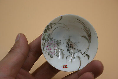 Chinese Thin Porcelain Hand Painted Small Dish - Marks