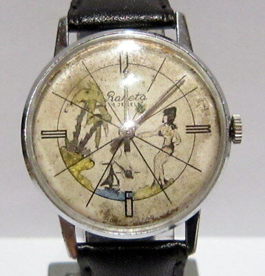 Vintage Russian Men's Watch Raketa With Nice,erotic,hand Painting Dial,rare# 767