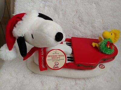 Hallmark Swingin' with Snoopy Woodstock Piano Animated Musical Lights Plush