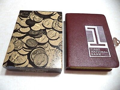 BANKERS UTILITIES BOOK BANK W/ KEY& BOX  FIRST NATIONAL BANK of OREGON VINTAGE