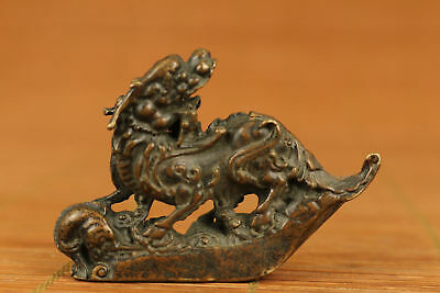 Rare Chinese Old Bronze Handmade Carved Dragon Statue