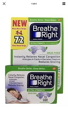 Breathe Right Nasal Strips Extra Strength for Sensitive Skin 72 Clear Strips