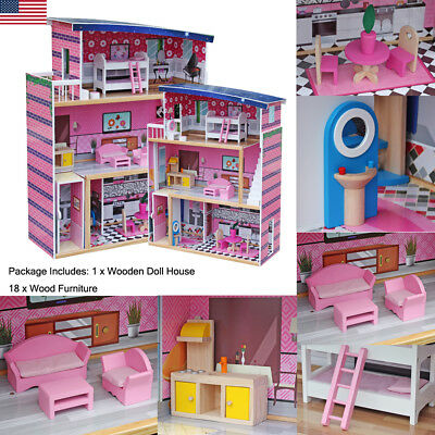 KidKraft Sweet Wooden Pretend Play House Doll Dollhouse With Furniture Mansion