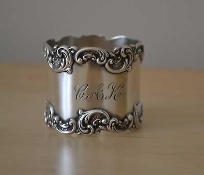 Gorham Sterling Silver Napkin Ring Heavy Applied Rococo Scroll and Swirl Borders