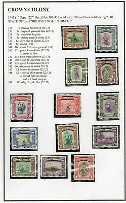 North Borneo 1947 Sg335-347 Set To $1 On Album Page - Mounted Mint