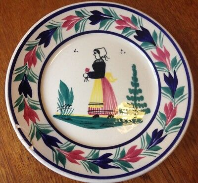 Vintage Quimper small dessert plate hand painted with woman 18.5cm PE 176